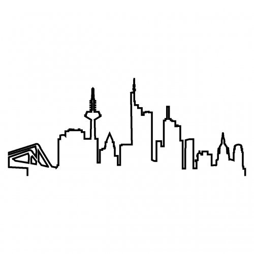 Skyline4u Kontur Frankfurt Skyline Silhouette Aufkleber in 8 Größen und 25 Farben (15x6,2cm schwarz)