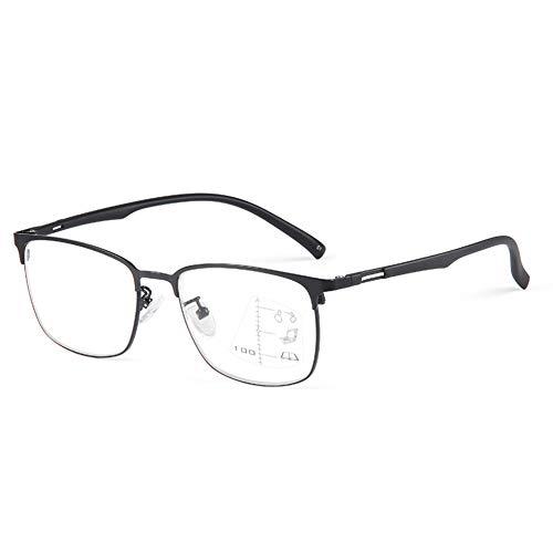 HQMGLASSES Gafas de Lectura al Aire Libre fotocrómica multifocal de los Hombres, Gafas de Sol de Marco Grande de Metal Ultraligero /UV400 dioptrías +1.0 a +3.0,Negro,+3.0