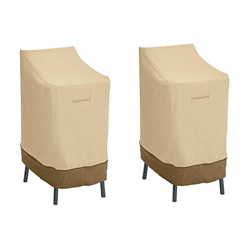 Classic Accessories Veranda Water-Resistant 26 Inch Patio Bar Chair & Stool Cover, 2 Pack