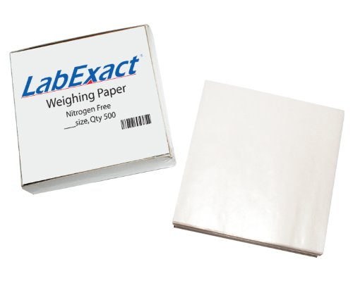 LabExact 1200158 W33 Cellulose Weighing Paper Sheet, Nitrogen Free, Non-Absorbing, High-Gloss, 3 x 3 Inches (Pack of 500)