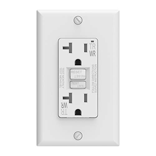 ELEGRP 20 Amp GFCI Outlet, 5-20R GFI Dual Receptacle, TR Tamper Resistant and WR Weather Resistant, Self-Test Ground Fault Circuit Interrupters, Wall Plate Included, UL Listed (1 pack, White)