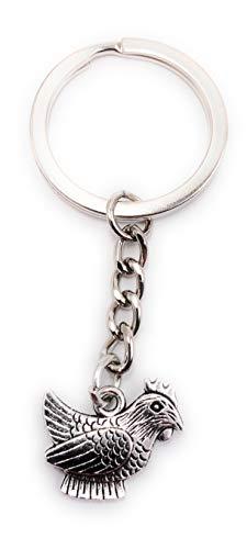 Onlineworld2013 Schlüsselanhänger Keychain Silber Metall Henne Huhn Hahn Bauernhof Tier Anhänger