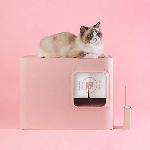 TOMSSL Königin Äußeren Halbumschlossener Geschlossenen Katzenklo Einklemmschutz Spritzen Deodorant Katzentoilette 51,5 * 39 * 38,1 cm (Farbe : Pink)