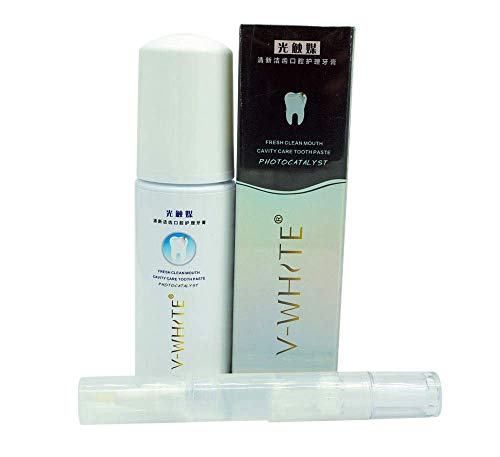 V-White Micro Foam Toothpaste AND Teeth Whitening Gel | New Formula | Deep Cleaning for V-White Ultrasonic Electric 360 Toothbrushes foaming vwhite tooth paste ever whitener cleaner smile gums liquid