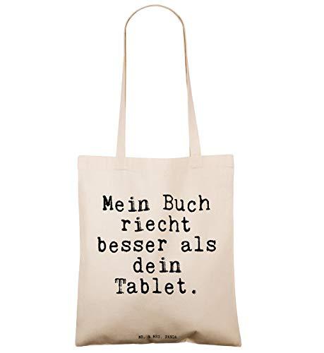 """Mr. & Mrs. Panda Tragetasche mit Spruch """"Mein Buch riecht besser als dein Tablet."""" - 2"""