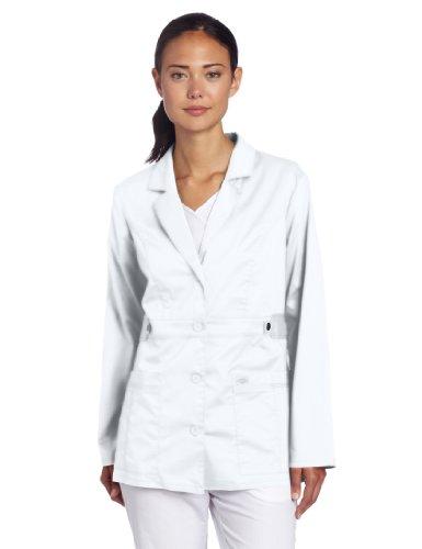 Dickies Women's Gen Flex Junior Fit Contrast Stitch Lab Coat, White, X-Small