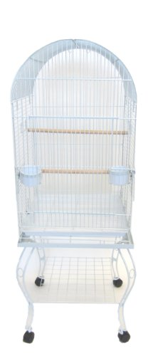YML 20-Inch Dometop Parrot Cage with Stand, White
