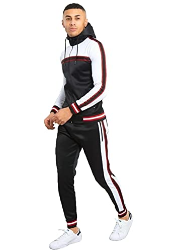mymixtrendz Mens Contrast Cuffed Designer Tracksuit Skinny Fit Stretch Body Fit Zipped Top and Joggers Bottoms (Black, m)