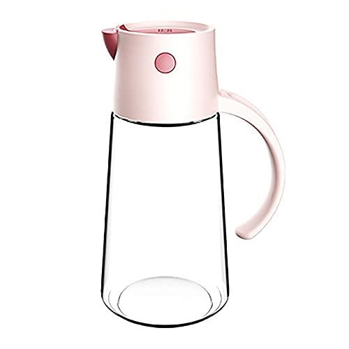 550 ml de aceite de oliva y vinagre dispensador automático Flip vidrio transparente aceite cruet salsa botella para cocina (rosa)