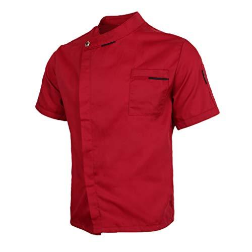 Sharplace Atmungsaktiv Kochjacke Bäckerjacke M-3XL, Kurzarm Chef Arbeitsjacke Arbeitskleidung Gastro Kochkleidung für Herren und Damen - rot, L