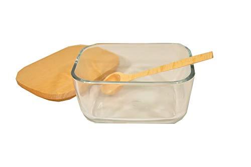 Glazen Suikerpot met Houten deksel en Lepel Zout Specerijen Perfect Keuken Opslag 12,5 cm