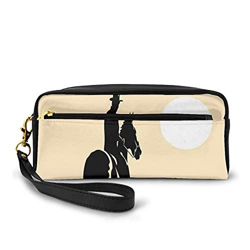 Con bolsa de lápiz con cremallera,Arte de vaquero caballo hacia la puesta del sol en el héroe del desierto del salvaje oeste,Estuche pequeño bolso de maquillaje
