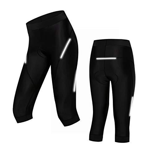 Weimostar Fahrrad-Shorts für Damen, Bermuda-Shorts mit 4D-Gel-Polster, Coolmax-Fahrrad-Shorts für MTB, Schwarz Gr. 3XL (Taille 28/33