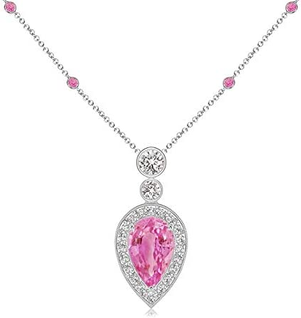 Inverted Pear Pink Sapphire Necklace S Diamonds Department Time sale store 8x5mm with