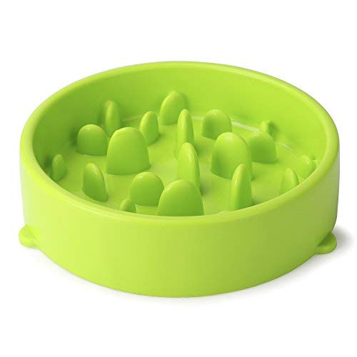 JASGOOD Dog Feeder Slow Eating Pet Bowl Eco-Friendly Durable Non-Toxic Preventing Choking Healthy Design Bowl for Dog Pet(S-M,New Green)