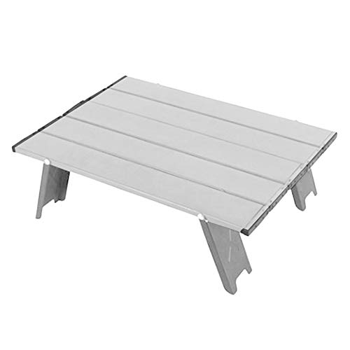 Mesa plegable para acampar, mesa plegable para acampar al aire libre enrollable de aleación de aluminio, para picnic, viajes de campamento, playa, pesca, barbacoa