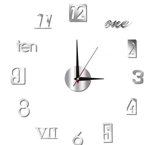 ALHX Reloj de Pared 3D, Silencioso Espejo de Acrílico sin Marco Efecto de Reloj de Pared Pegatina de Pared Decoración Ideal para la Casa Oficina Hotel Restaurante