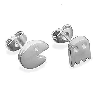 Video Game Inspired PACMan and Ghost Tiny Stud Earrings Stainless Steel Jewelry for Dainty Women Girls Gold