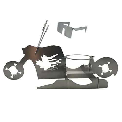 Barbacoa de la motocicleta Piezo de pollo soporte de pollo portátil práctico innovador plateado color motocicleta forma barbacoa soporte para picnic accesorios de barbacoa