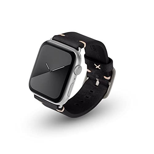 JT Berlin Alex Vintage - Correa para Apple Watch 42 mm/44 mm, correa de piel [Watch SE, Series 6/5/4/3/2/1, correa de repuesto de cuero suave, cierre de aluminio] negro/plata (tamaño S/M)