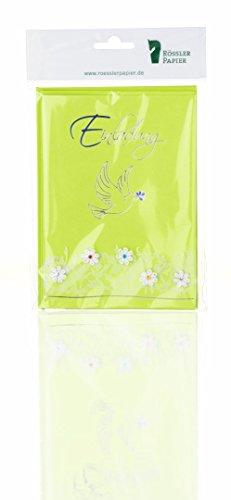 Rössler Papier Einladungskarten für Kommunion / Konfirmation B6 (3 Stück inkl. Einlegeblatt und Umschlag, 12,5 x 17,6 cm) grün mit Taube und Blütenranke