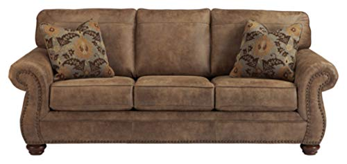 Signature Design by Ashley - Larkinhurst Contemporary Faux Leather Sleeper Sofa w/ Nailhead Trim - Queen Size - Earth