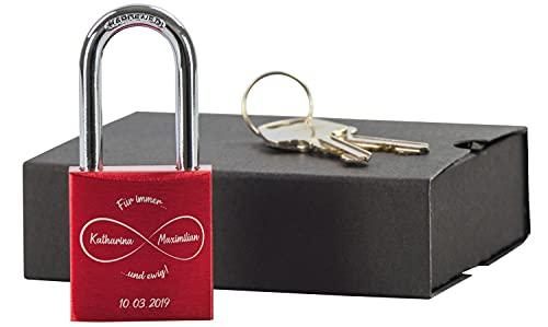LAUBLUST Liebesschloss mit Gravur und Schlüssel inkl. Geschenkbox - Unendlichkeit - Personalisiertes Geschenk für Paare