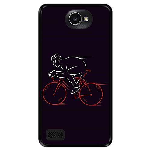 Hapdey Funda Negra para [ LG X150 Bello 2 ] diseño [ Atleta, Ciclista en Bicicleta ] Carcasa Silicona Flexible TPU