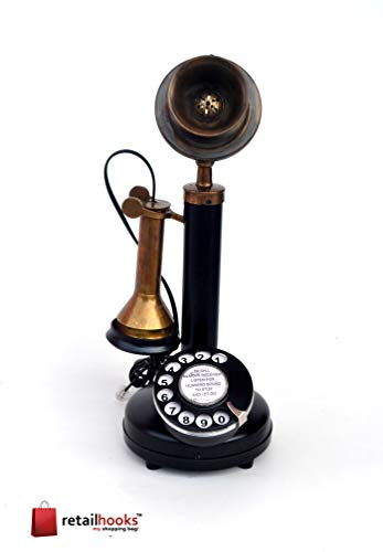 retailhooks Vintage Antique Candlestick Rotary Dial Phone Vintage Brass Antique Finish Table Decorative Telephone (1)