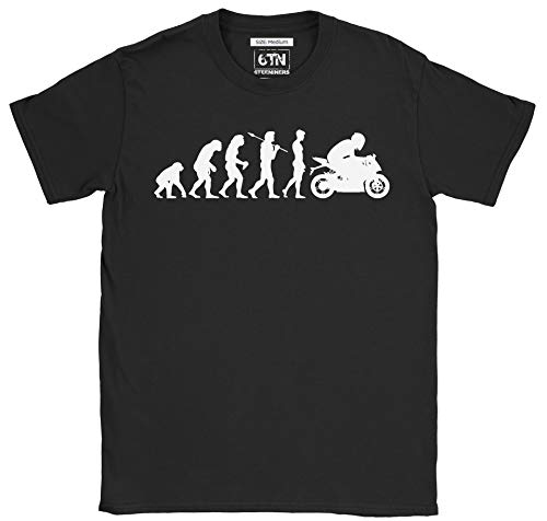 6TN Hombre Camiseta Divertida del Motorista Camiseta de Evolution To The Motorcycle (M)