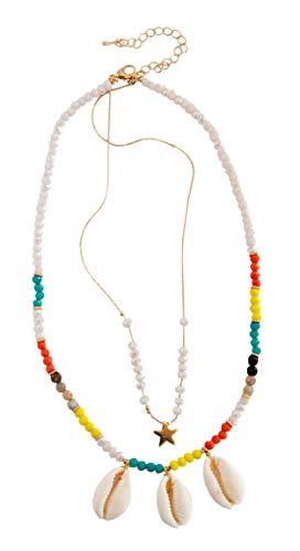 Generisch • Kiss Me! • Collar Hippie indio de Top Model Ibiza hecho a mano con perlas coloridas de mar y conchas