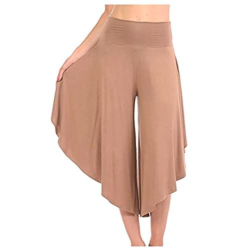 MGHH Damesmode zomer losse eenkleurige broek elastische onregelmatige casual kuitlange brede pijpen broek, beige, L