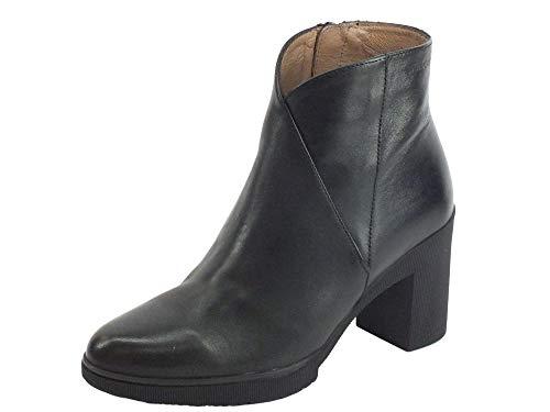 Wonders M-3727 Velvet Negro Damen-Stiefeletten aus schwarzem Leder mit hohem Absatz (Größe 38)