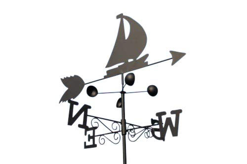 Garden Market Place Weathervane - BOAT steel weathervane with ground spike and wall fixing.