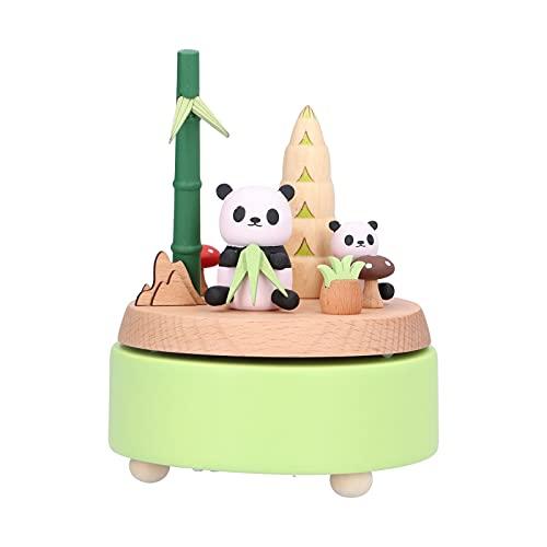 WAQU Decoración de Escritorio-Caja de música en Forma de Panda Adorno de artesanía de Madera de Escritorio para el cumpleaños del Día de San Valentín