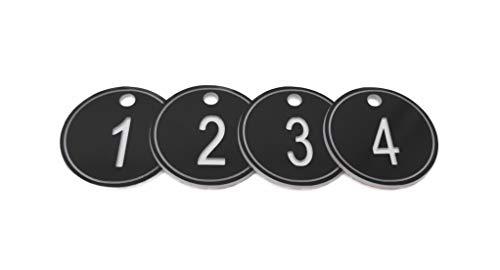 ABS Sleutelhangers met Ring, Gegraveerde Nummer Id Tags Sleutelhanger, 35mm Genummerde Sleutelhangers 50 Stuks - Zwart - 1 tot 50