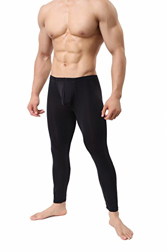 Woxuan Herren Lange Unterhose Leggings transparente Hose Sport-Tights Unterwäsche Strumpfhose Black Neu (L/XL)