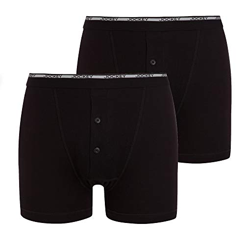 Jockey Modern Classic Y-Front Button Fly Boxer Trunk 2Pack, Zwart, M