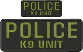 Police K9 Unit Embroidery Patches 4X10 and 2X5 Hook ON Back OD Green Letters by HighQ Store
