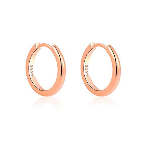 VU100 925 plata de ley 15 mm con bisagras, aro redondo, chapado en oro rosa, pendientes para dormir