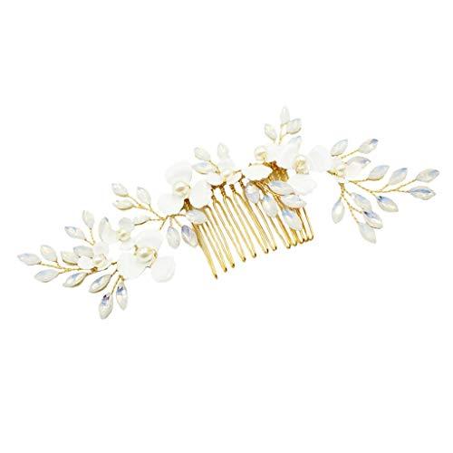 Baoblaze Peine de Pelo Nupcial Peineta de Flores y Hojas con Perlas Artificiales Herramienta de Peinado para Mujer