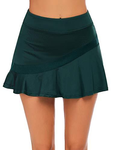 Ekouaer Athletic Mini Skort for Women Pleated Golf Skirts with Pockets Aline Sports Hiking Skirt Green