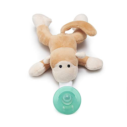 Luv Your Baby Monkey Pacifier with Stuffed Animal, Acrylic Binky Soothie for Boys and Girls, 3-12 Months