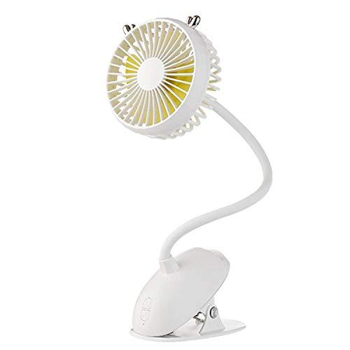LHQ-HQ Portables Clip en el Cochecito Ventilador, Flexible Flexible Personal de Escritorio Aficionados eléctrico con batería Recargable Tranquila Operado Ventiladores oscilantes for la Cama, (Blanco)