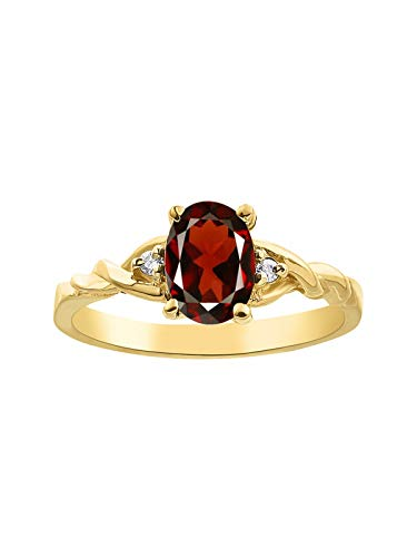 Juego de anillos de diamante y granate chapados en oro amarillo y plata