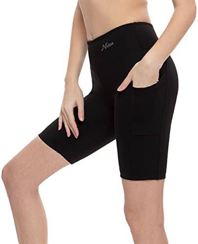 "Nirlon Women's Biker High Waist Workout Yoga Shorts Sides Pockets 9"" Inseam (Medium, Black+Pocket)"