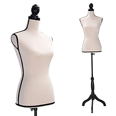JAXPETY Female Mannequin Torso Clothing Display W/Black Tripod Stand New