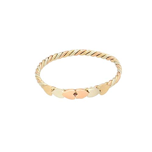 Women's 9Carat Yellow, White & Rose Gold Heart Band (Size M 1/2) 2mm Wide | Luxury Ladies Ring