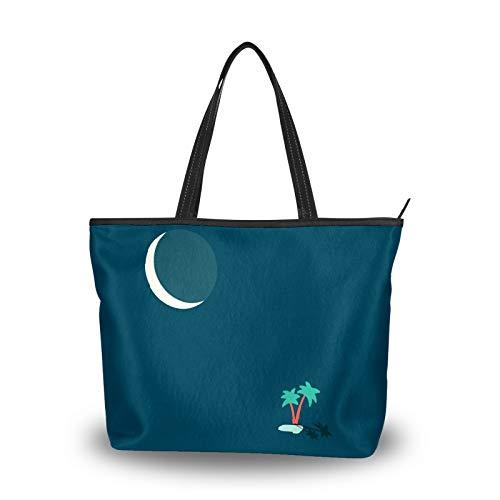 Bolsa de la compra con cremallera, diseño de cocotero, luna, grande, reutilizable, con asa superior, para la escuela, trabajo, gimnasio, playa, viajes al aire libre