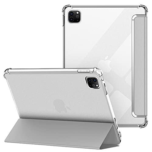 VAGHVEO Funda para iPad Pro 11' 2021/2020, iPad 11 3ª/2ª Generación, Delgada Flexible Protectora Plegable Cubierta Transparente TPU, Función de Soporte Resistente a Impactos Suave Carcasa Cover, Gris